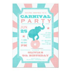 Pink   Turquoise Carnival Party Big Top Birthday Invitation
