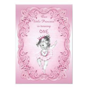 Pink Vintage Princess Ballerina 1st Birthday Party Invitation