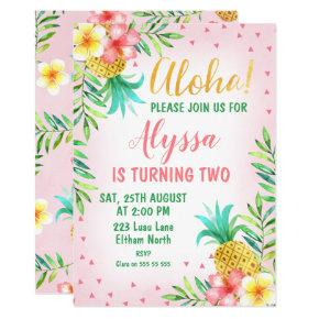 Pink Watercolor Aloha Luau Birthday Invitation