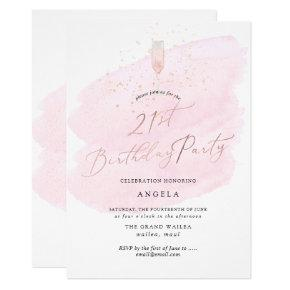 Pink Watercolor Champagne Glass+Bubbles Invitation