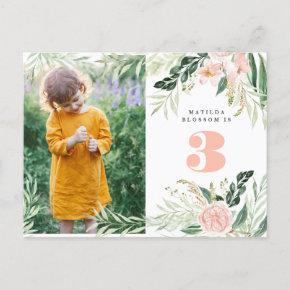 Pink watercolor floral photo birthday invitation