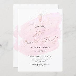 Pink Watercolor Glass+Bubbles Champagne Invitation
