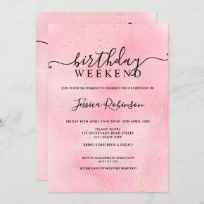 Pink watercolor gold glitter birthday program