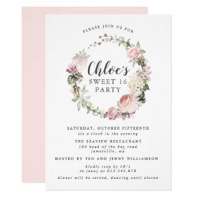 Pink White Floral Wreath Sweet Sixteen Party Invitation
