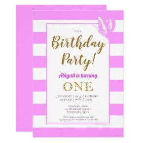 Pink White Gold Glitter 1st Birthday Party Invitation
