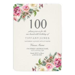 Pink & White Roses Floral 100th Birthday Invite