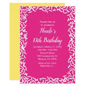 Pink & White Sprinkles Cute Birthday Party Invitation