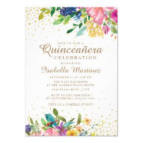 Pink Yellow Blue Floral Gold Glitter Quinceañera Invitation