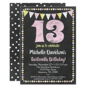 Pink Yellow Chalkboard 13th Birthday Invitations
