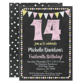 Pink Yellow Chalkboard 14th Birthday Invitation