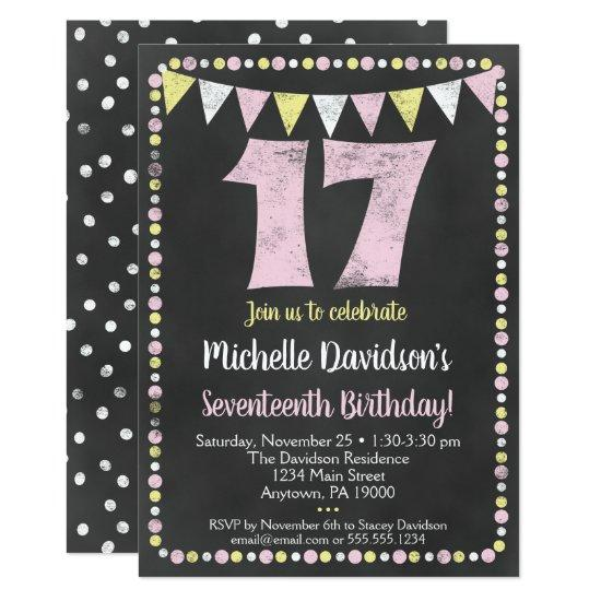 Pink Yellow Chalkboard 17th Birthday Invitation Candied Clouds