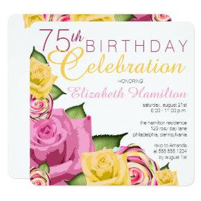 Pink | Yellow Floral 75th Birthday Celebration Invitation