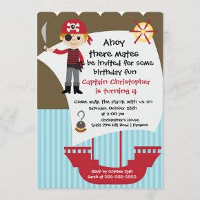 Pirate Ahoy Mates Birthday Party Invitation Boy