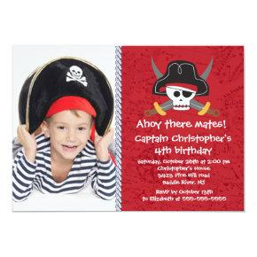 Pirate Ahoy Mates Boy Photo Birthday Party Invitation