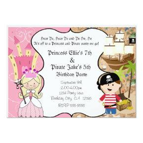 Pirate and Princess Birthay Party Invitations
