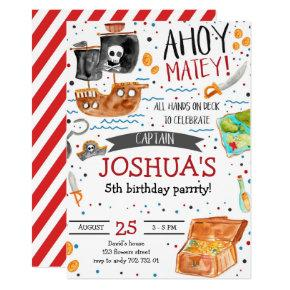 Pirate Birthday Ahoy Pirate Boy Party Invitation