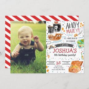 Pirate Birthday Ahoy Pirate Boy Party with Photo Invitation