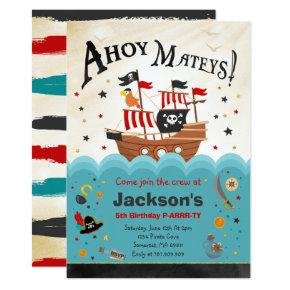 Pirate Birthday Invitations Ahoy Pirate Party Bash