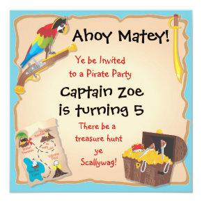 Pirate Birthday Party and Treasure Hunt Invitation