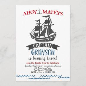 Pirate Birthday Party Invitation Modern Watercolor