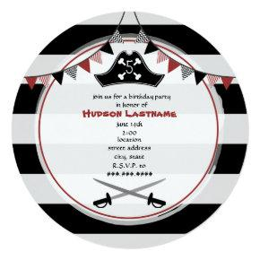 Pirate Birthday Party Round Invitation