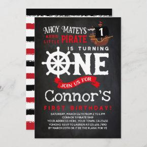 Pirate First Birthday Chalkboard Invitation