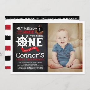 Pirate First Birthday Invitation with Photo