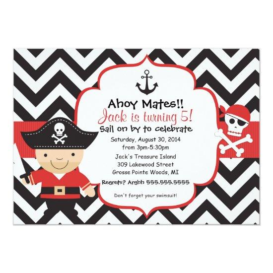 Pirate Kids Birthday Party Invitation Candied Clouds