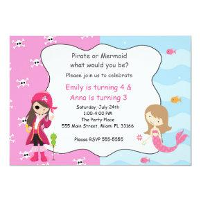 Pirate Mermaid Girl Birthday Party Invitation