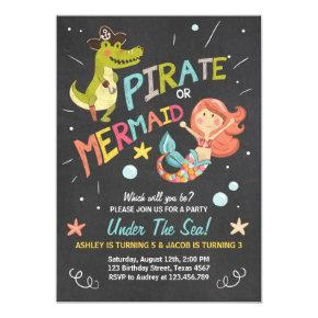 Pirate or Mermaid birthday Invitations Joint Bday