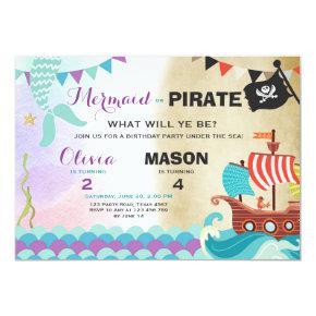 Pirate or Mermaid birthday Invitations Siblings