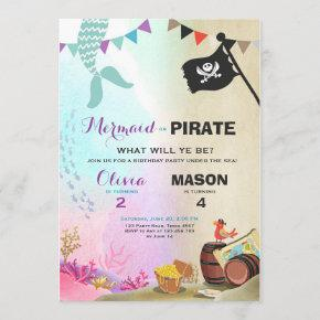 Pirate or Mermaid birthday invitation Siblings