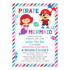 Pirate or Mermaid Invitation, Under the sea party Invitation