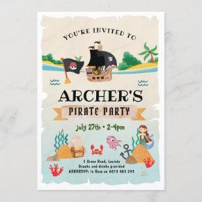 Pirate party invitation, Pirate birthday Invitation