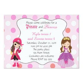 Pirate Princess Girl Birthday Party Invitations