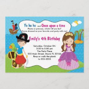 Pirate Princess Invitation Kids Birthday Party