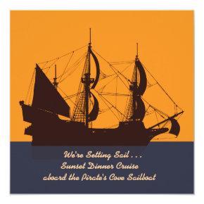 Pirate Ship Silhouette Invitation
