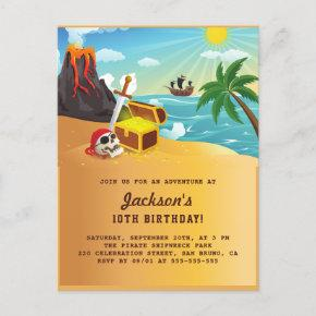 Pirate Ship, Treasure & Volcano Island Birthday Invitation Post