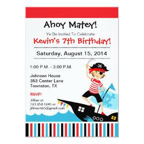 Pirate Theme Birthday Party Invitation