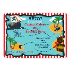 Pirate Treasure Map Birthday Party Invitations