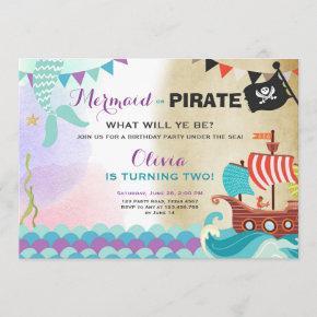 Pirates and Mermaids birthday invitation Girl