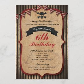 Pirates themed birthday party invitation