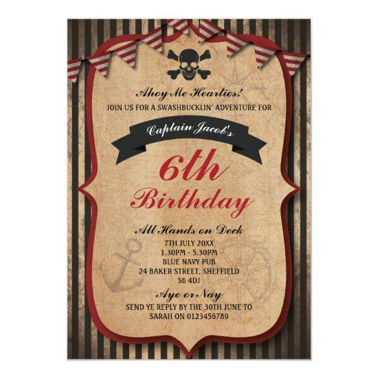 Pirates Themed Birthday Party Invitation Candied Clouds