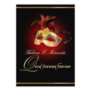 PixDezines Masquerade/DIY color/ruby red Invitations