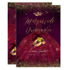 PixDezines Masquerade Quinceanera Burgundy Gold Invitation