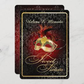 PixDezines Rossi Sweet 16 Masquerade/DIY color!! Invitation