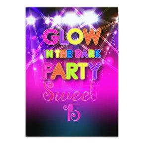 PixDezines Sweet 15, Glow in the Dark Invitation