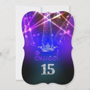 PixDezines Sweet 15, Laser Lights/Neon Lights Invitation