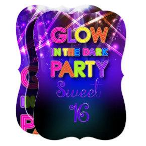 PixDezines Sweet 16, Glow Party/Laser Lights Invitation
