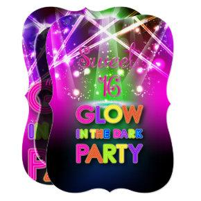PixDezines Sweet 16, Laser Lights/Glow Party Invitation